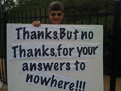 Protest sign answers to nowhere