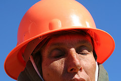 Work woman construction hat
