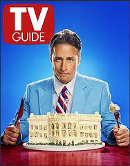 Jon Stewart eating white house