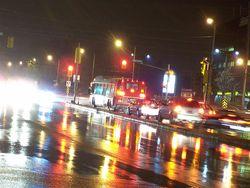 Bus rainy traffic