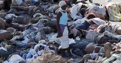 Haiti woman surrounded