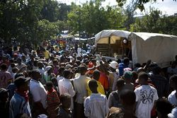 Haiti group waiting for distribution