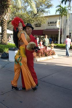 Dancing costumed couple