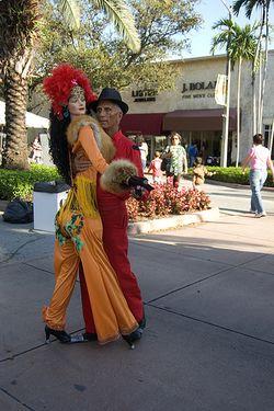 Dancing costumed couple
