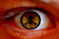 Webcam eye closeup