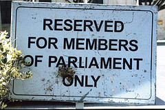 Parliament reserved sign