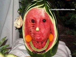 Watermelon face illusion