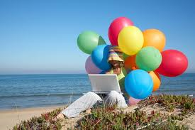 FB birthday balloons & computer