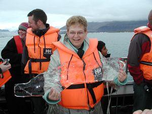 Iceland holding hunk of glacier