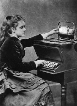 Typewriter daughter of inventor