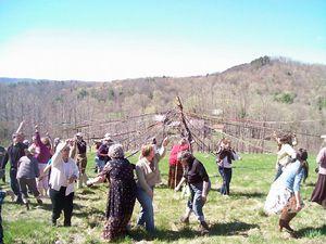 May day winding maypole