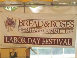 Bread Roses tent sign