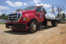 Transmission red flat bed truck