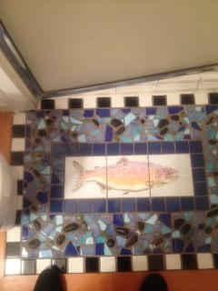 LA looking down shower mosaic