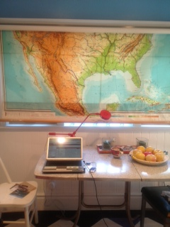 LA writing with map shade