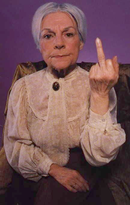 Old lady-giving-the-middle-finger