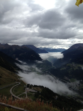 Swiss Alps with clouds below