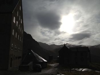 Swiss hospice with clouds
