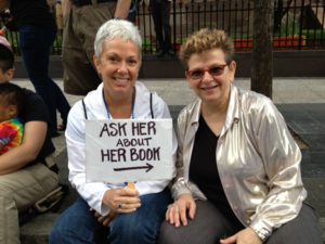 Lucky and I at pride with Ask about book