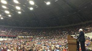 Bernie with crowd