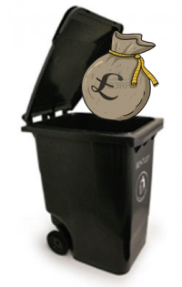 Pound sterling in trash