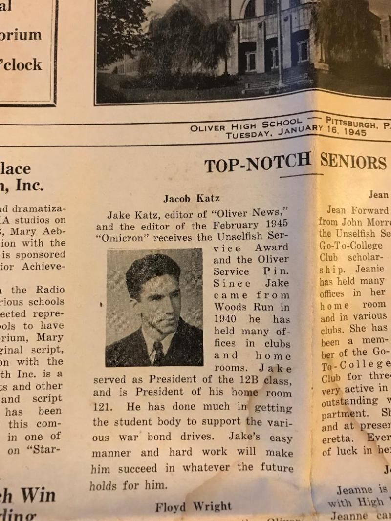 Jake Katz yearbook blurb