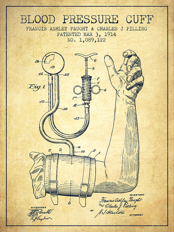 Blood-pressure-cuff-patent-from-1914-vintage-aged